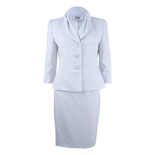 Le Suit Women's Petite Bow-Collar Dot-Print Skirt Suit - white/bali blue