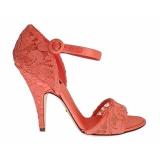 Dolce & Gabbana Peach Taormina Lace Heels Mary Janes - 39