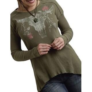 Roper Western Shirt Womens L/S Skull Tunic Green 03-038-0513-6031 GR
