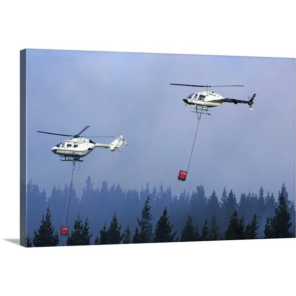 """""""Helicopters fighting forest fire"""" Canvas Wall Art"""