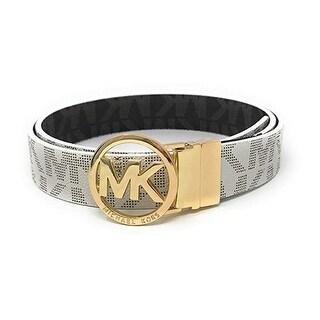 Michael Kors MK Logo Signature Monogram Twist Reversible Belt 551342C, VanillaTo Brown - Vanilla