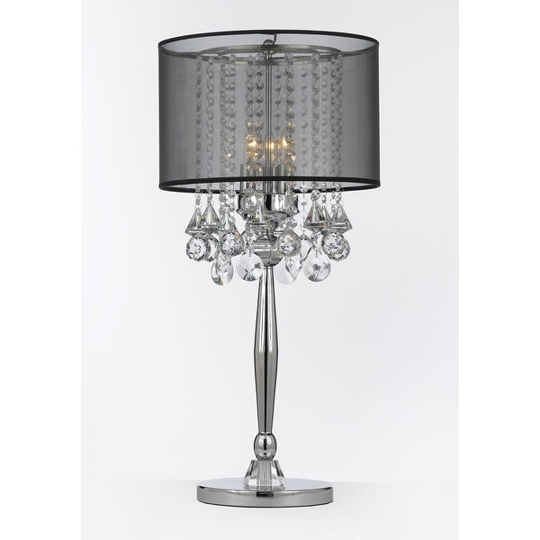 Shop silver mist 3 light chrome crystal table lamp with - Black table lamps for living room ...