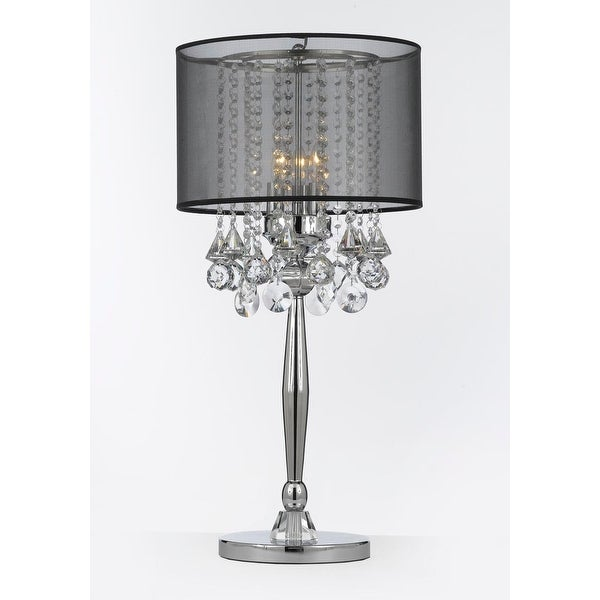 Shop Silver Mist 3 Light Chrome Crystal Table Lamp With Black Shade Contemporary  Modern Living Room,For Bedroom   Free Shipping Today   Overstock   14292605