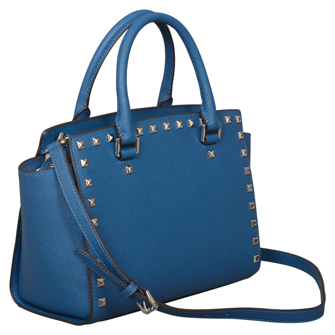 48234825a0b2 Shop Michael Kors Medium Selma Stud Top Zip Steel Blue Leather Satchel  Handbag - Free Shipping Today - Overstock - 22678795