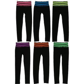 Women 6 Pack Seamless Fold-Over Strip Color Waistband Sports/Yoga Leggings Pants