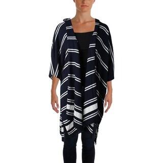 Lauren Ralph Lauren Womens Plus Cardigan Sweater Silk Blend Striped