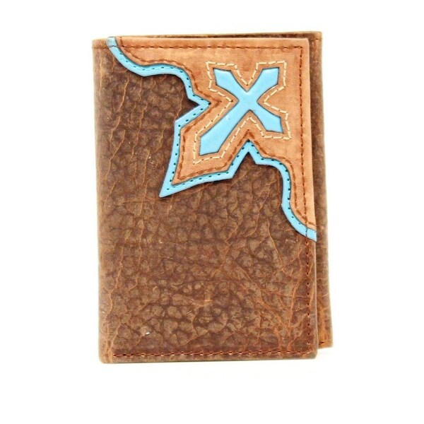 Nocona Western Wallet Mens Trifold Cross Inlay Leather - One size
