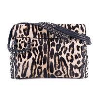 Roberto Cavalli Womens Cheetah Print Pony Hair Black Leather Handbag