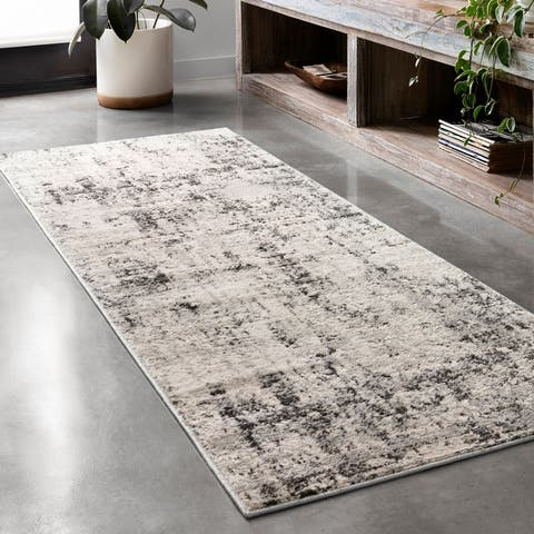 Alexander Home Keara Abstract Marble Distressed Contemporary Rug