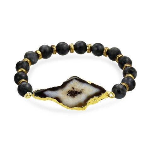 Black Brown Agate Stones Ball Bead Stretch Bracelet Gold Plated - 8