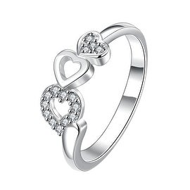 Trio-Heart Drop Down Crystal Jewels Petite Ring