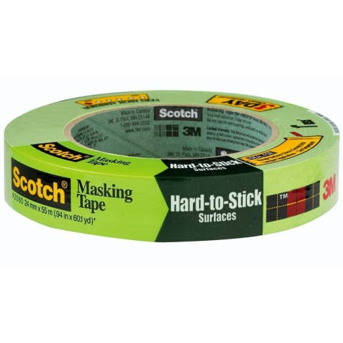 "Scotch 2060-24A Masking Tape for Hard-to-Stick Surfaces, 0.94"" x 60.1 Yd, Green"
