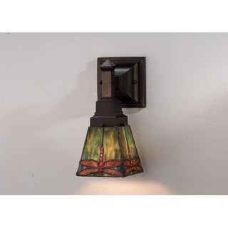 Meyda Tiffany 48187 Stained Glass / Tiffany Down Lighting Wall Sconce from the Prairie Dragonfly Collection