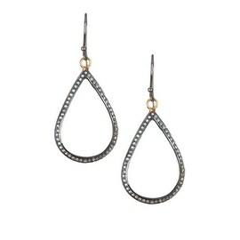 925 Sterling Silver Pave Diamond Tear Drop Shape Earring