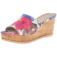 Franco Sarto Womens CATY Fabric Open Toe Casual, Blue Floral, Size 10.0