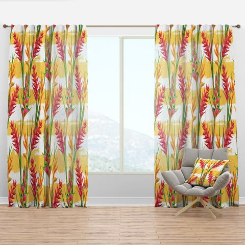 Designart 'Summer Jungle Pattern with Tropical Flowers Heliconia' Tropical Curtain Panel