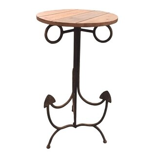 Anchor Shaped Accent Table Metal and Wood 30 X 15.75 Inches