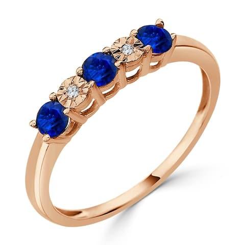 Auriya 10k Gold 1/3ctw 5 Stone Blue Sapphire Gem and Diamond Wedding Band