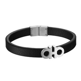 Black Leather Bracelet AA Stainless Steel Mens 12mm Luxury