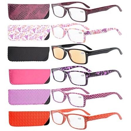 Eyekepper 6-Pack Spring Hinges Patterned Reading Glasses Women +3.0