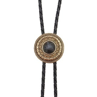 Bolo Tie Antique Gold with Black Stone - One size
