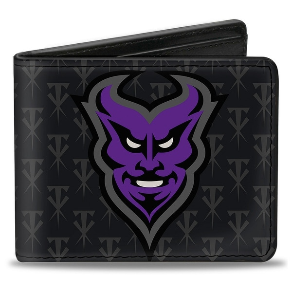 Undertaker Devil Mask Monogram + Undertaker Black Gray Purple Bi Fold Wallet - One Size Fits most