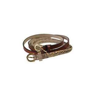 Style & Co. Gold Brown 2 For 1 Braided Belt Set L