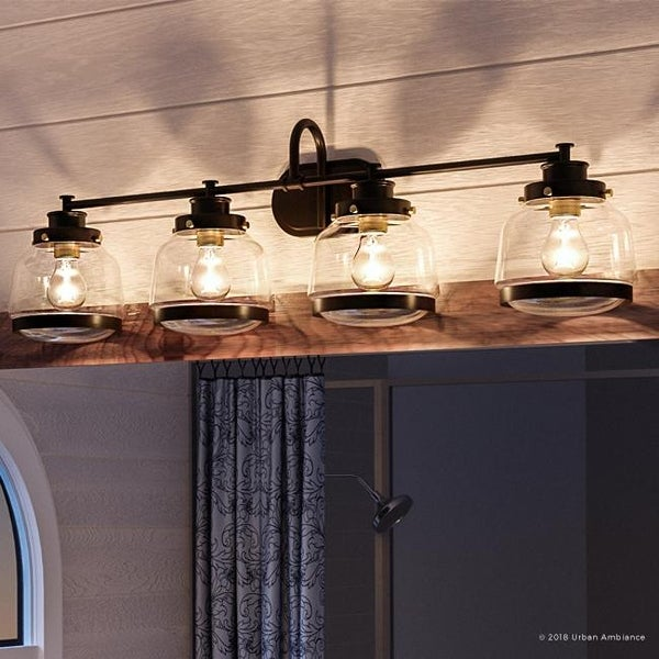 """Luxury Industrial Chic Bathroom Vanity Light, 11.25""""H x 35.75""""W, with Art Deco Style, Olde Bronze Finish by Urban Ambiance. Opens flyout."""