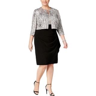 MSK Women Womens Plus Crop Blazer Shoulder Pads Sequined