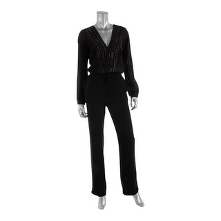 Twelfth St By Cynthia Vincent Womens Embroidered Surplice Jumpsuit - S