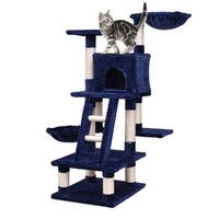 Gymax 46'' Cat Tree Kitten Pet Play House Furniture Condo Scratching Posts Rope Ladder - Navy