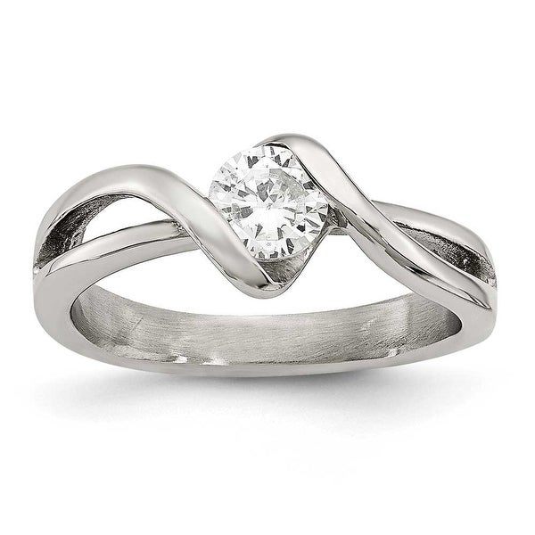 Chisel Stainless Steel Polished Round CZ Ring (7.5 mm)