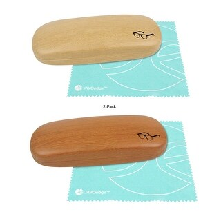 JAVOedge (2 PACK) Wood Grain Pattern Wrapped Hard Clamshell Eyeglass Case with Bonus Microfiber Cloth