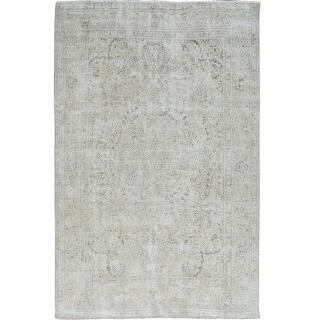 "White Wash Vintage & Worn Down Persian Tabriz Handmade Rug(6'9""x9'9"") - 6'9"" x 9'9"""