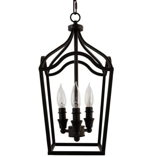 "Park Harbor PHPL5353 Textured Black 3 Light 9"" Wide Mini Foyer Pendant with Lantern Cage Style Frame"