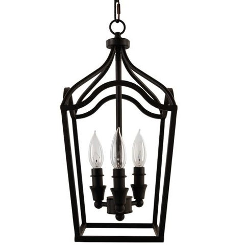 "Park Harbor PHPL5353 Textured Black 3 Light 9"" Wide Mini Foyer Pendant with Lantern Cage Style Frame - Textured Black"