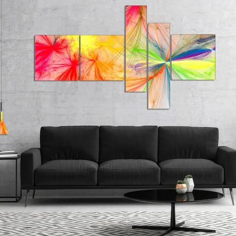 Designart 'Christmas Fireworks Colorful' Abstract Print On Canvas