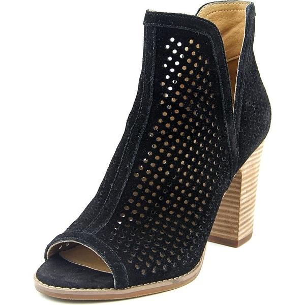 Lucky Brand Larise Women Open-Toe Leather Black Bootie