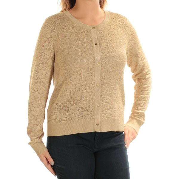 Shop Womens Gold Sleeveless Jewel Neck Casual Button Up Sweater Size