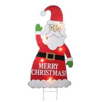 "3' Lighted Santa Claus ""Merry Christmas"" Outdoor Decoration - RED"