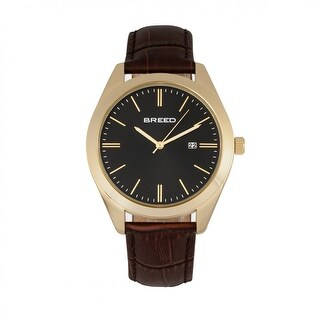 Breed Louis Men's Quartz Watch, Genuine Leather Band, Luminous Hands