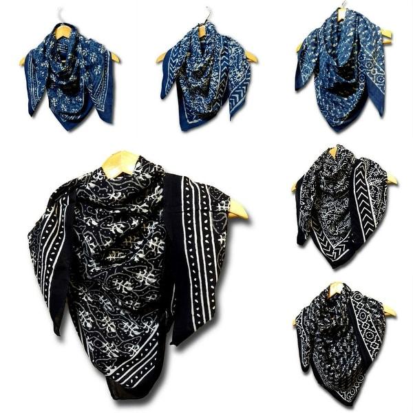 Large Cotton Scarfs for Women Lightweight Soft Sheer Neck Scarf, Head Scarf, Block Print DABU Summer Floral Scarf