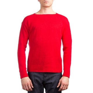 Prada Men's Wool Knitted Crewneck Sweater Red