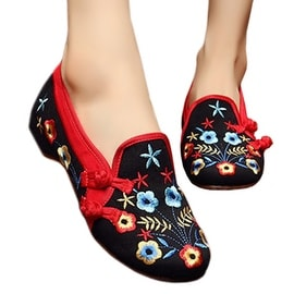 Starry Old Beijing Embroidered Cloth Shoes black