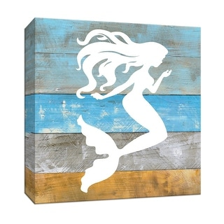 """PTM Images 9-147469  PTM Canvas Collection 12"""" x 12"""" - """"Woodgrain Mermaid"""" Giclee Silhouettes Art Print on Canvas"""
