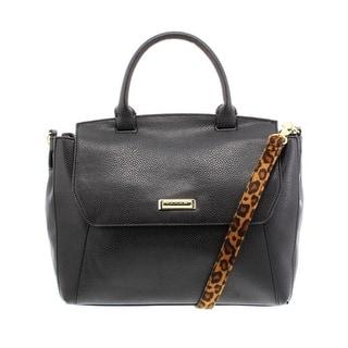 Tahari Womens Animal Instinct Satchel Handbag Faux Leather Pebbled Medium