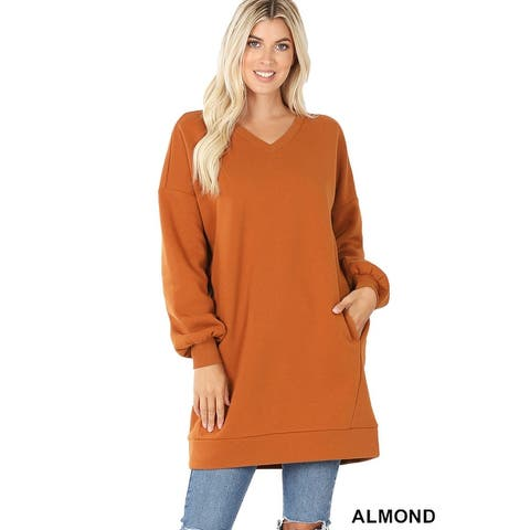 JED Women's Oversized V-Neck Long Sleeve Pull-Over Tunic Sweatshirt