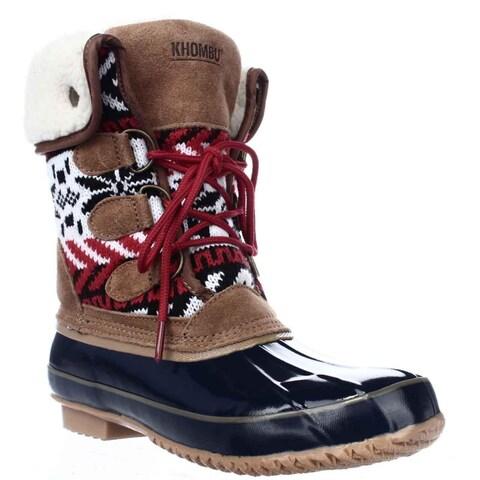 Khombu Jenna Fleece Lined Mid Calf Winter Boots, Navy/Tan