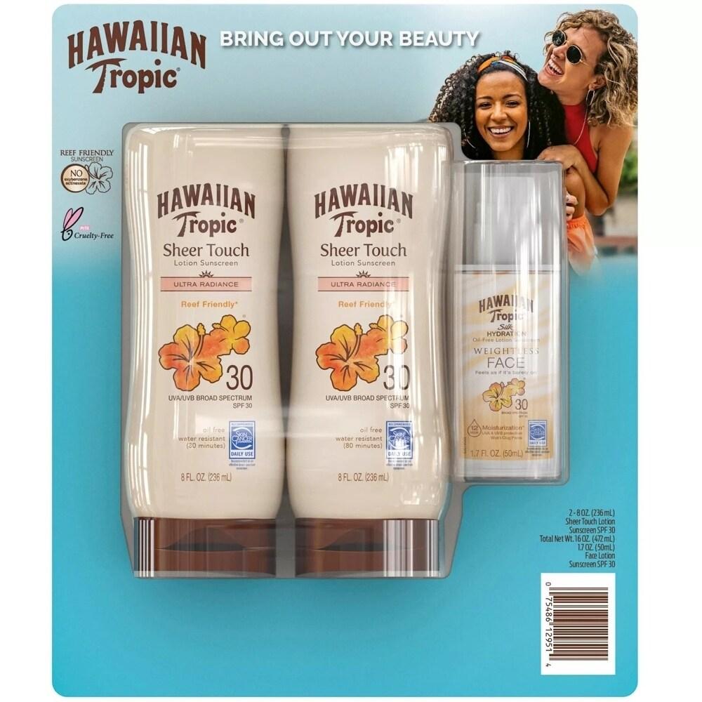 Hawaiian Tropic Face/Body Spf 30 Sunscreen (8 Fl Oz 2 Pk & Bonus 1 7 Fl Oz) (Body Sunscreen)