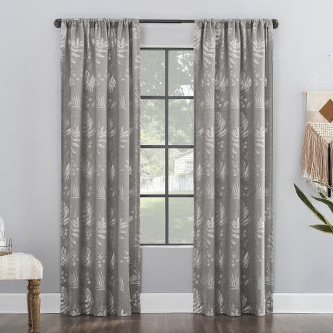 Clean Window Subtle Foliage Anti-Dust Curtain Panel, Single Panel